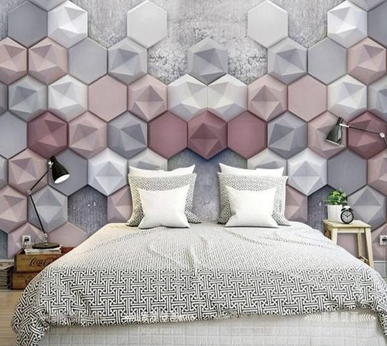 Gạch 3D xi măng ốp tường phòng ngủ nhiều màu sắc