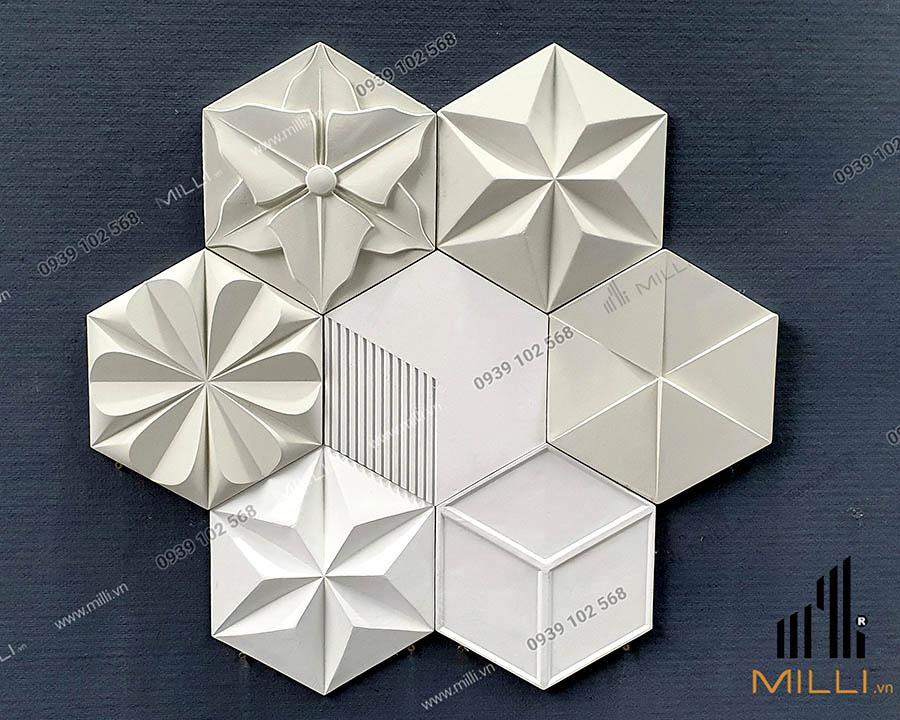 gạch 3D Milli lục giác nhiều mẫu mới màu trắng ốp tường