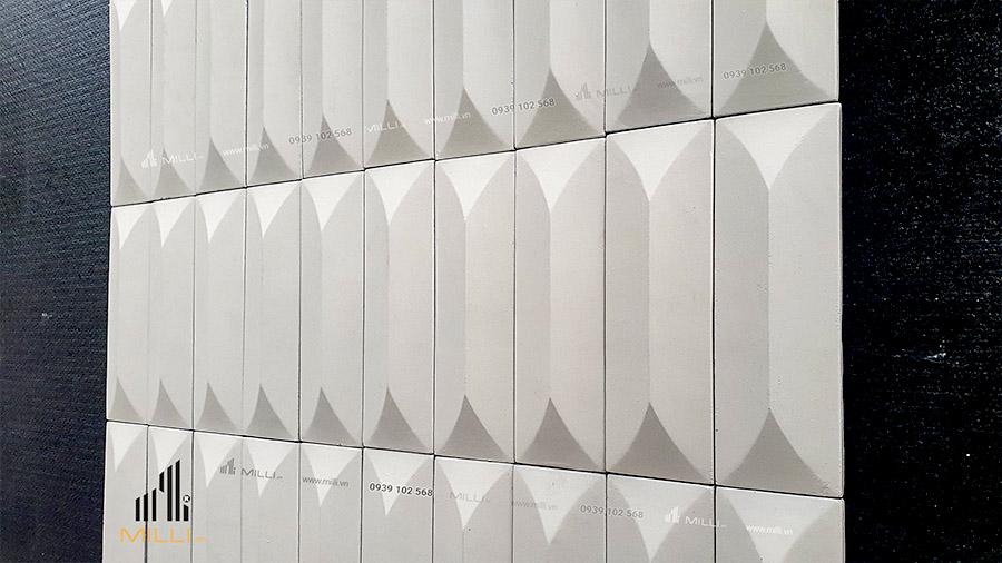 gạch 3D bê tông xi măng mẫu thẻ ốp tường Milli màu trắng nhỏ dài