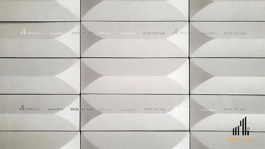 gạch 3D bê tông xi măng mẫu thẻ ốp tường Milli màu trắng nhỏ