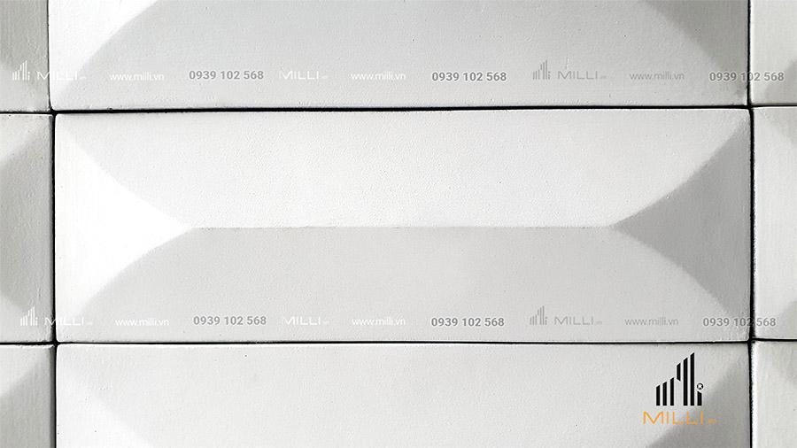 gạch 3D bê tông xi măng mẫu thẻ ốp tường Milli màu trắng