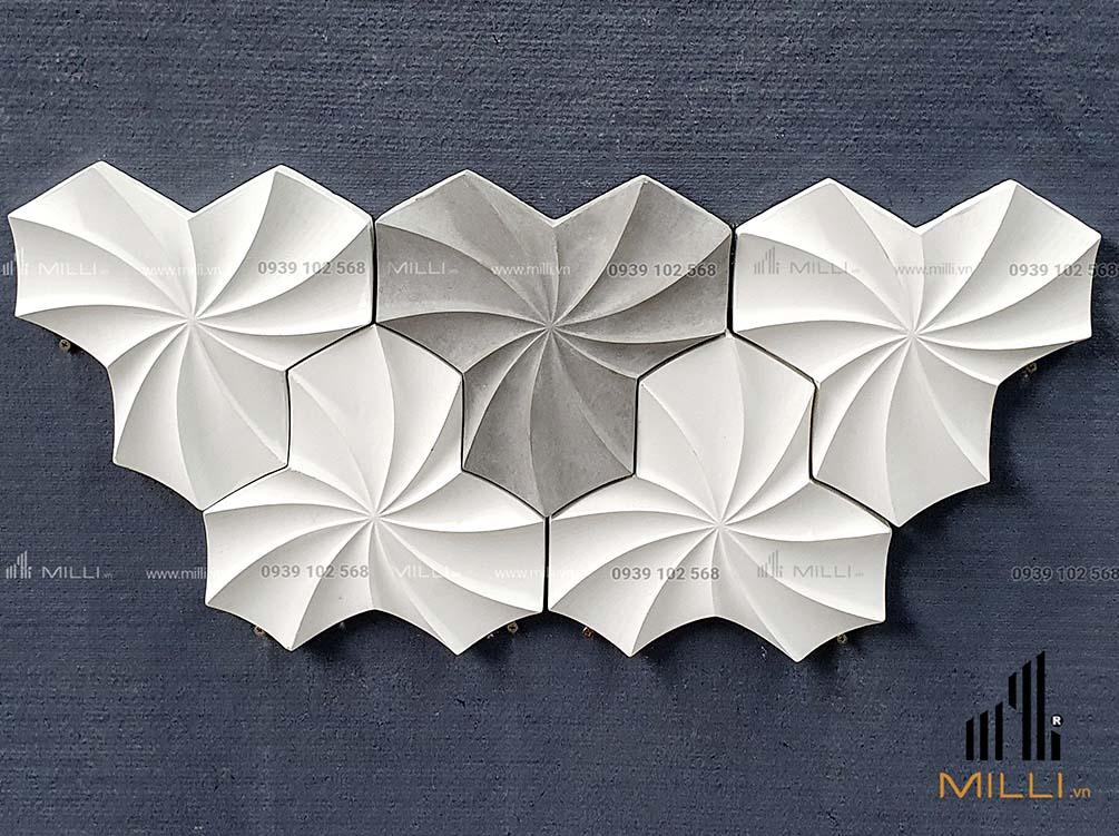 gạch 3D hoa xoáy Milli lục giác nhiều mẫu mới màu trắng ốp tường