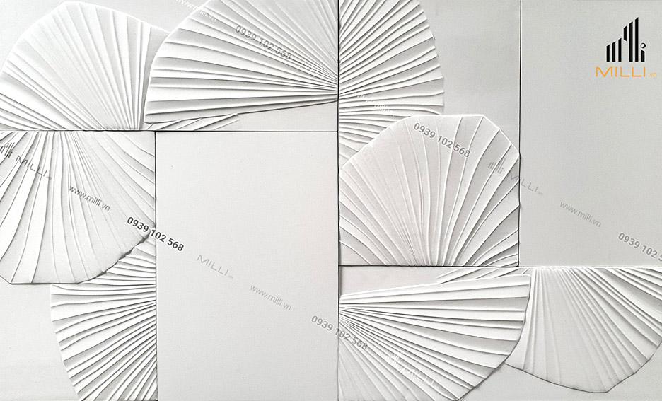 gạch 3D mẫu lớn 400 600 chiếc lá ốp tường Milli lá cọ lớn nhiều mẫu mới màu trắng