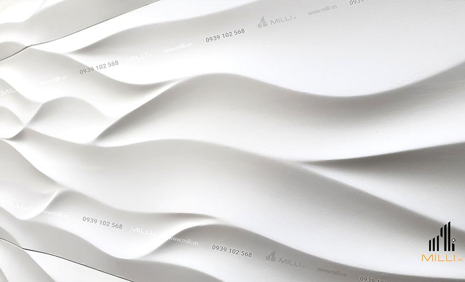 gạch 3D mẫu lượn sóng lớn ốp tường Milli mẫu mới màu trắng