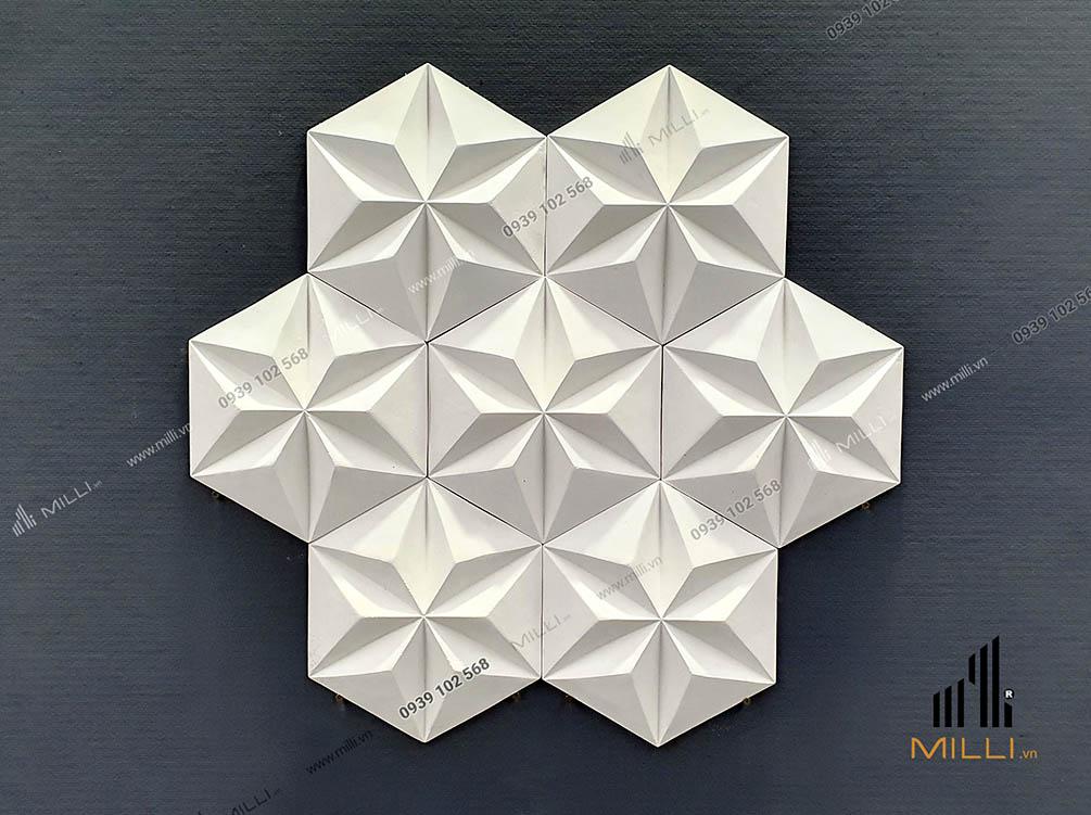 gạch 3D ốp tường Milli lục giác nhiều mẫu mới màu trắng ốp tường