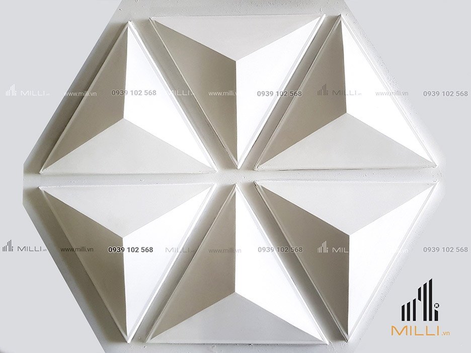 gạch 3D tam giác ốp tường Milli mẫu mới màu trắng