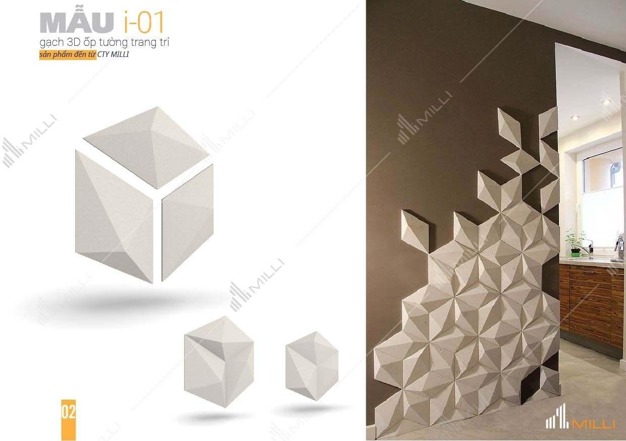 gạch 3D xi mang trang trí ốp tường Milli