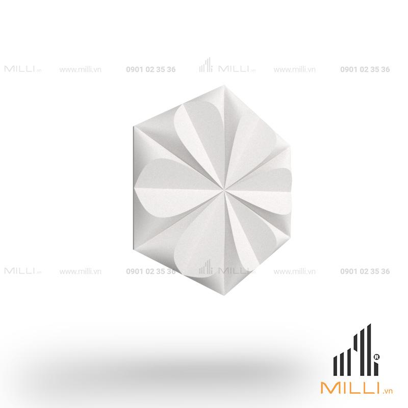 gạch 3d xi măng ốp tường mẫu i08 hoa mai lục giác nổi