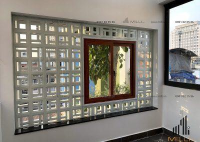 Khung cửa sổ trang trí gạch bông gió hiện đại Milli