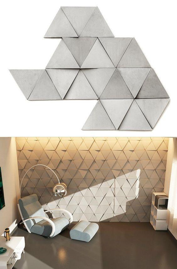 Gạch 3D tam giác đẹp ấn tượng cho nội thất hiện đại
